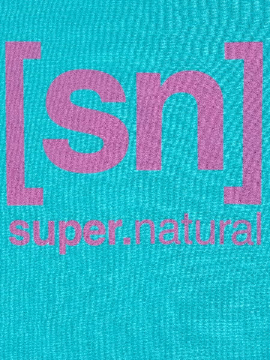 super.natural Damen W Essential I.d. Ls Langarm Shirt Hellblau/Rosa Logo
