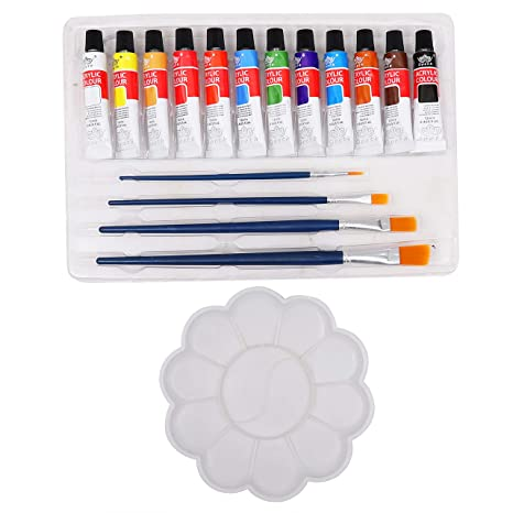 5673d599bce3 Kurtzy Acrylic Color Paint 12 Shades with 4 Painting Brushes and ...