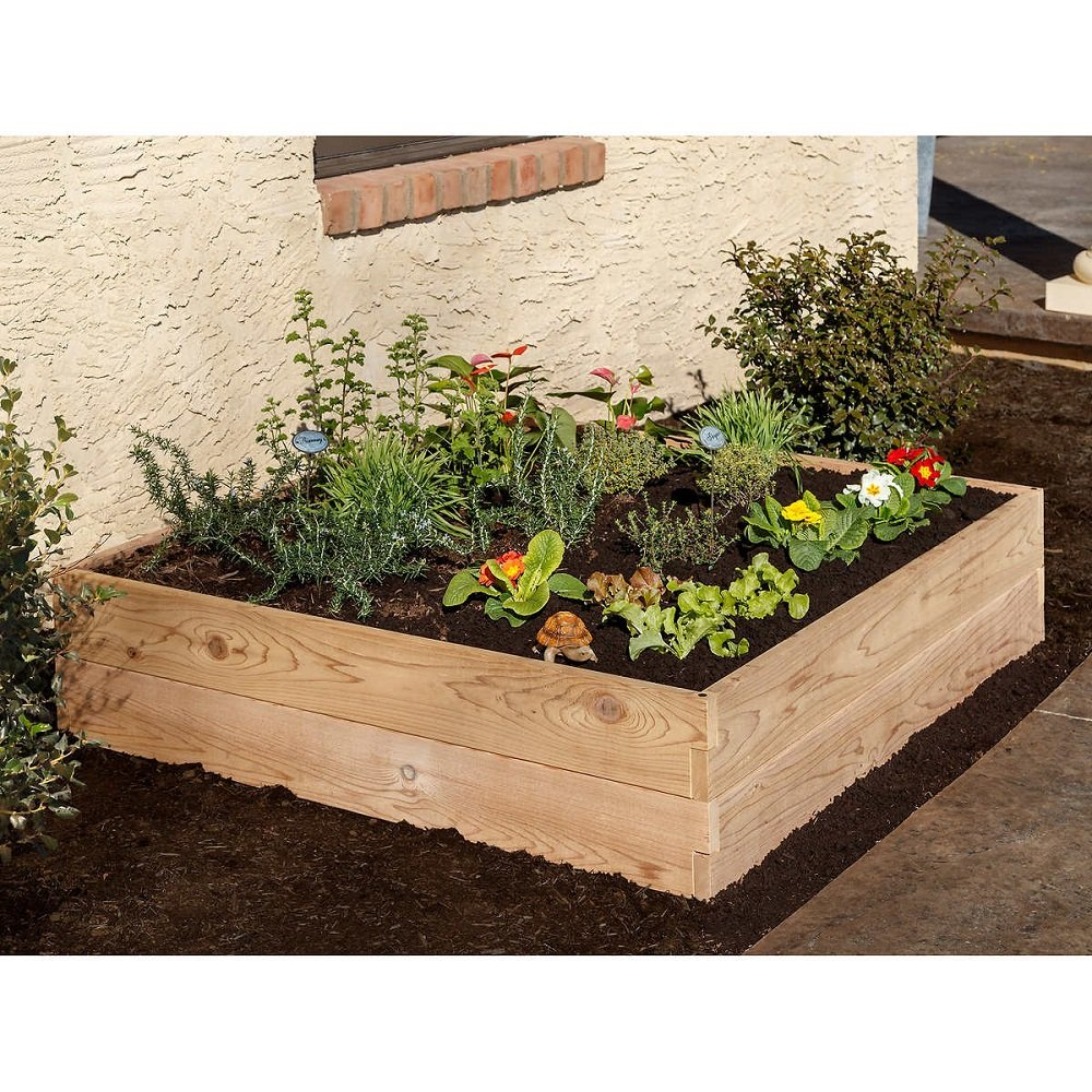 Expandable and Stackable 'Easy and Tool-Free' Raised Garden Bed, Natural Cedar (48'' X 48'') by The YardCraft