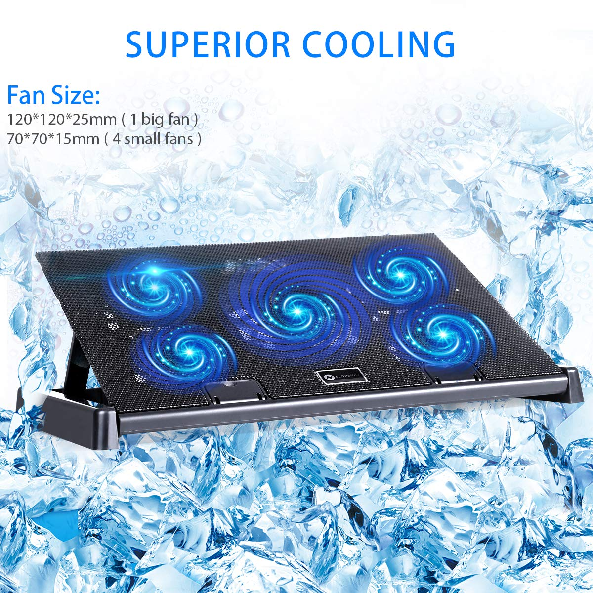 slopehill Laptop Stand Cooling, Dual USB Ports 5 Fans 10\