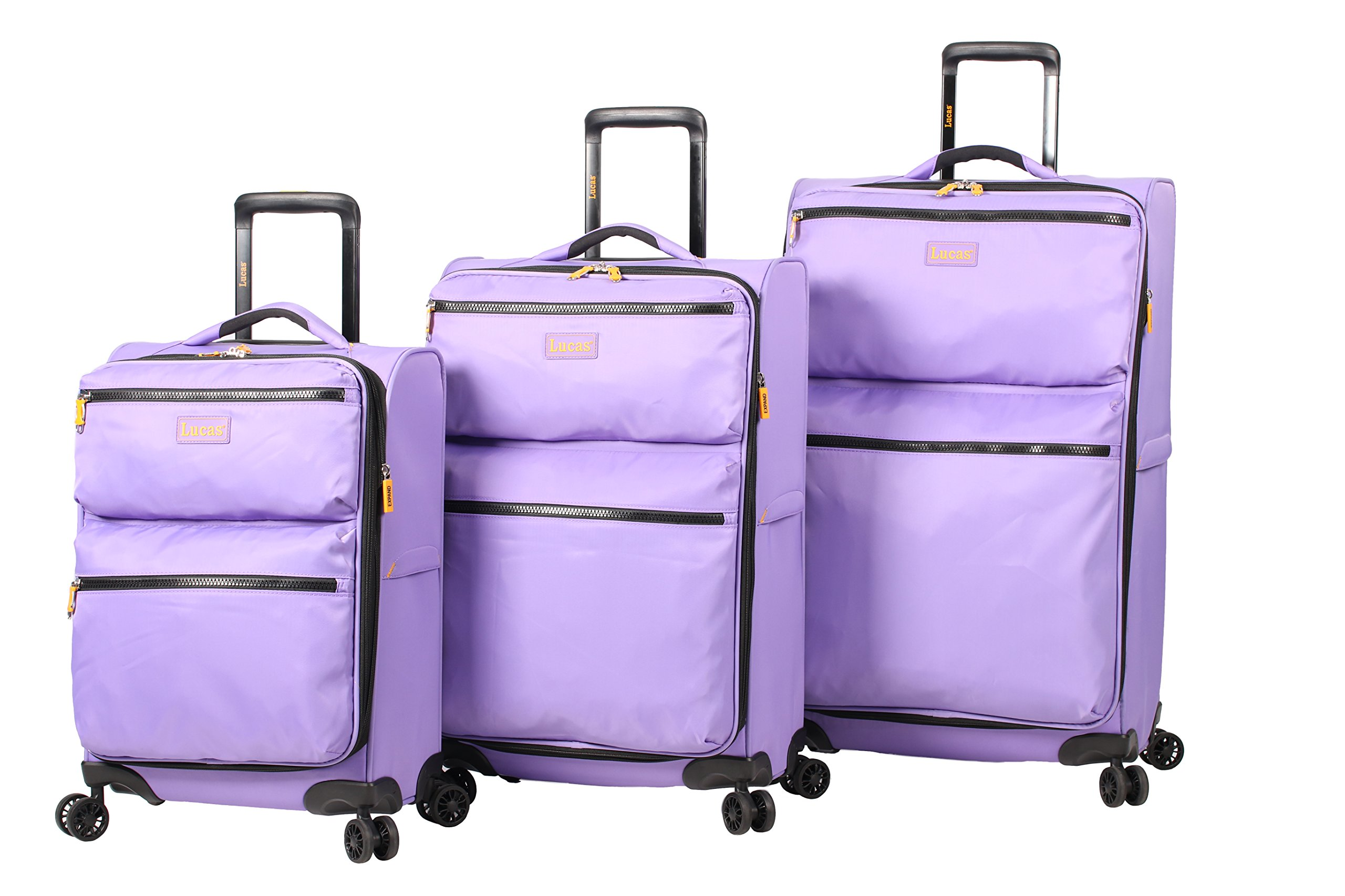 Lucas Ultra Lightweight 3 Piece Expandable Suitcase set With Spinner Wheels (One Size, Lavander)