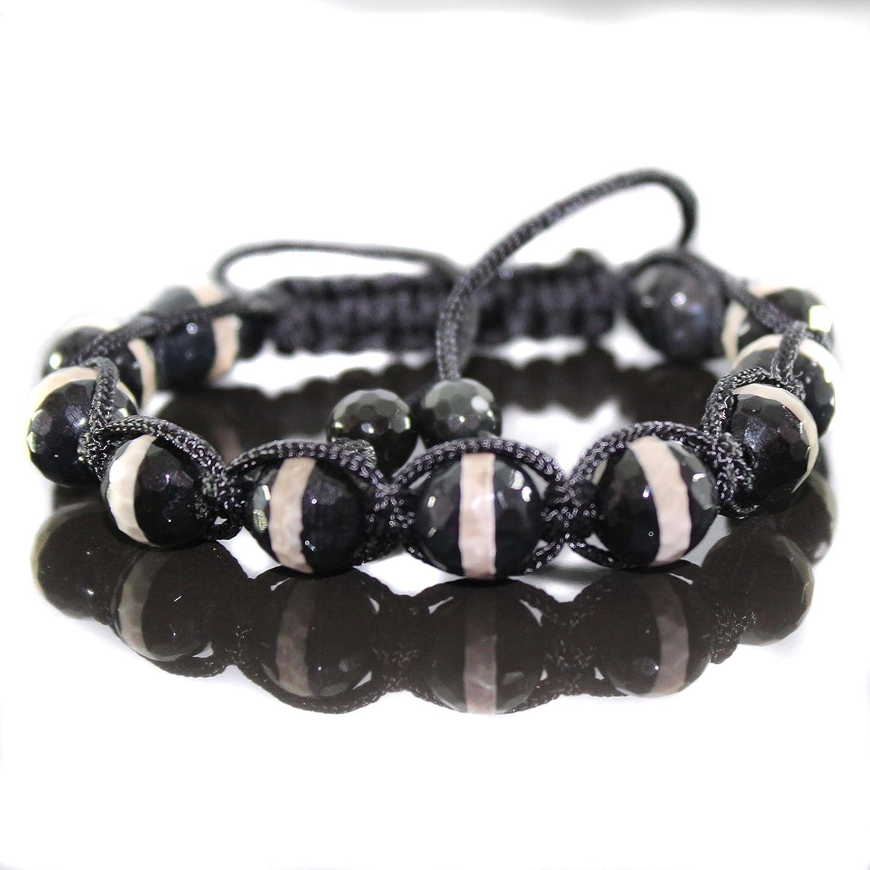 Herren Dalmatiner Edelstein Onyx Shamballa Armband  für Männer verstellbar
