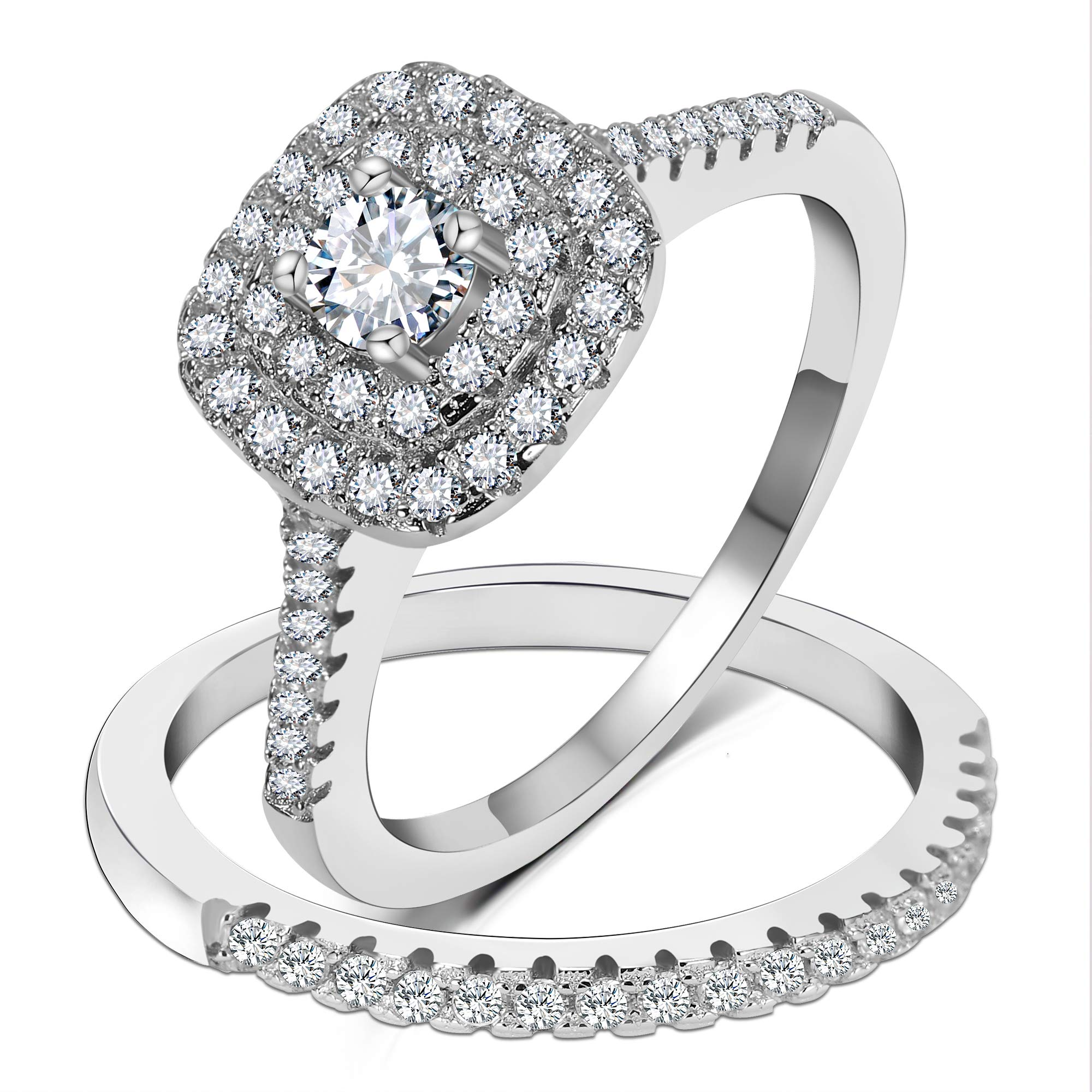 3UMeter 925 Solid Sterling Silver Bridal Wedding Band Engagement Ring Sets with CZ Diamond for Women Fashion Ring Size 7