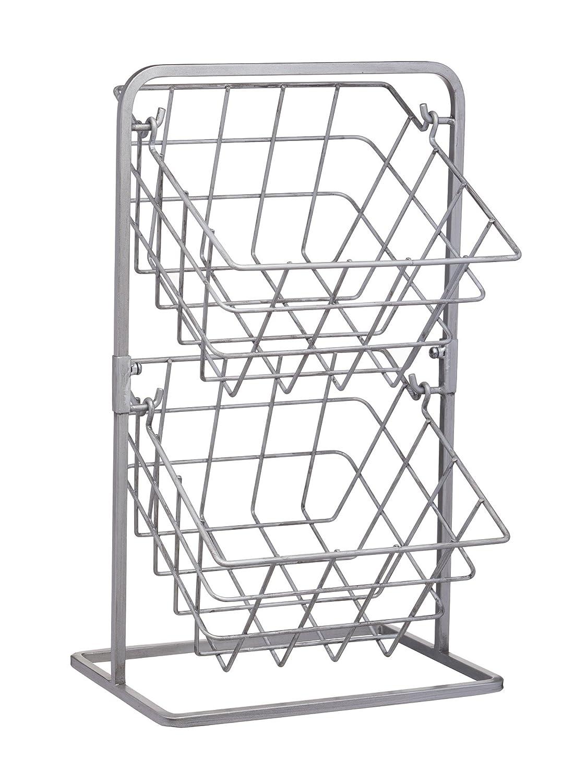 KitchenCraft Industrial Kitchen Vintage-Style Tiered Wire Storage Baskets, 25 x 22 x 41 cm (10