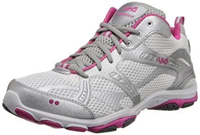 Ryka Women's Enhance 2 White/Chrome Silver/Pink/Cool Mist Grey Synthetic  Running