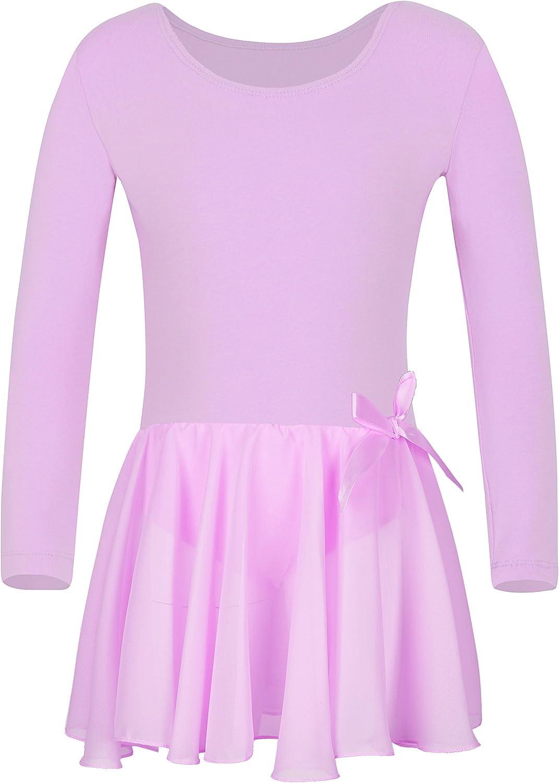 YEEIC Girls Team Basic Long Sleeve Leotard with Skirt Kid Dance Ballet Tutu Dress