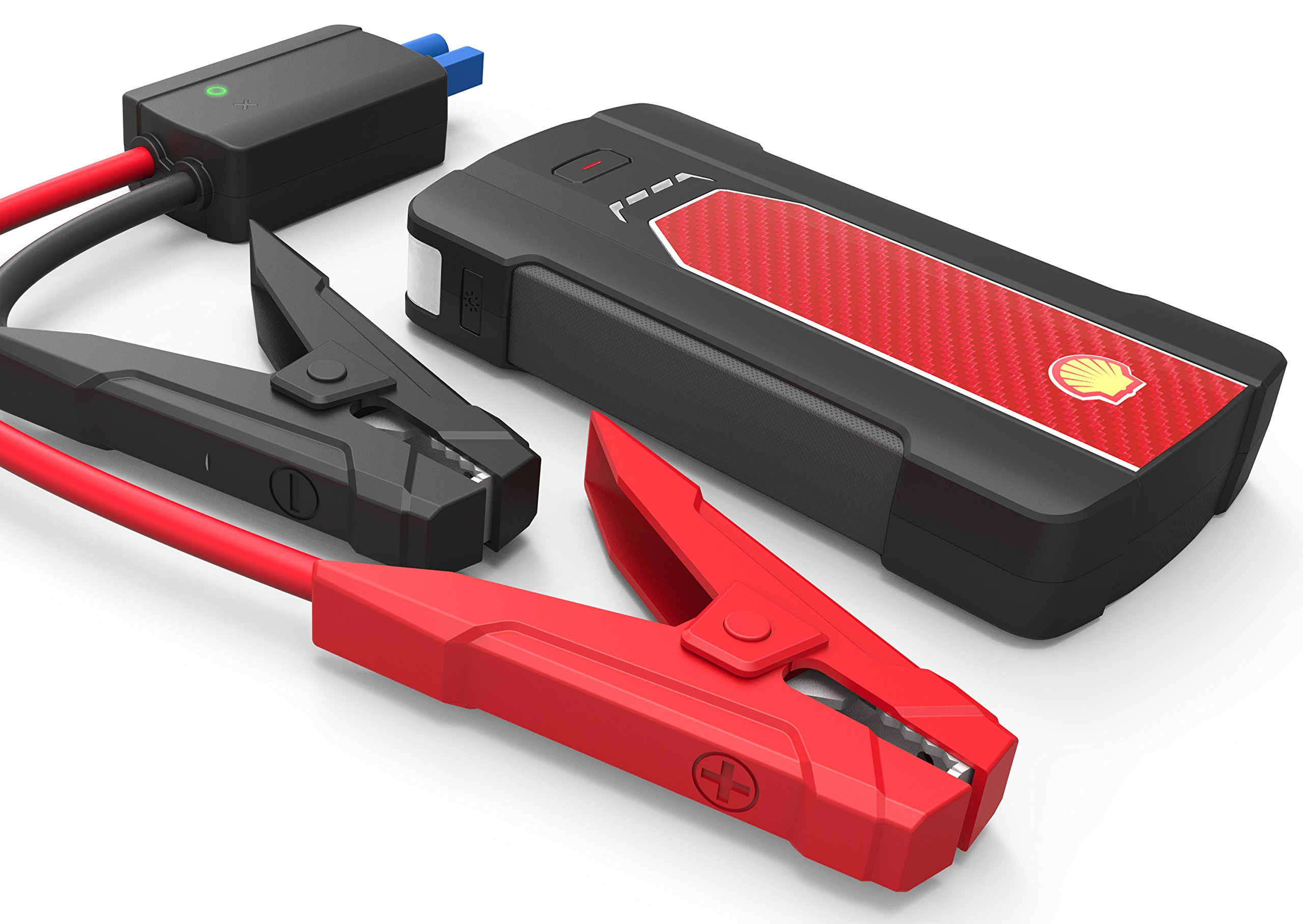 Shell Jump Starter, Power Pack,450A Peak 7000mAh, (Up to 6.8 liter Gas or 2.5 liter Diesel Engine) Battery Booster Pack, Power Bank With Smart Jump Start Cable, Flashlight, Car Charger, USB Output.
