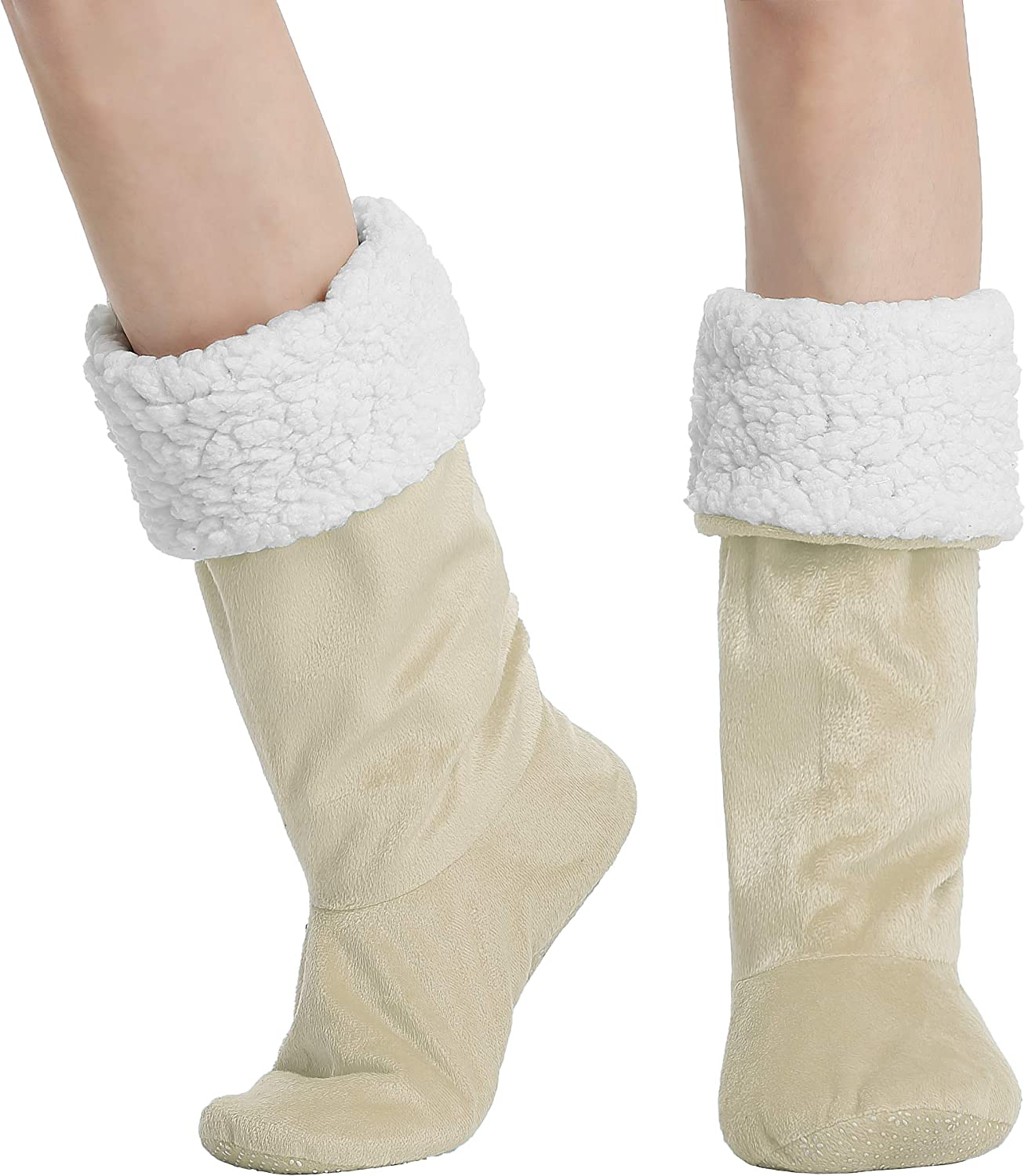 Cozy Non-Skid Sherpa Slipper Socks, Super Soft Warm Fuzzy Lined Booties Slippers, 2 Sizes, Multiple Colors