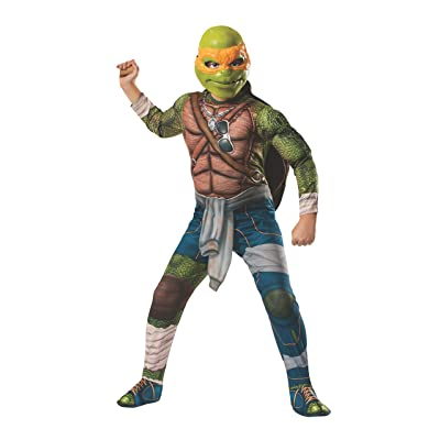 Rubies Teenage Mutant Ninja Turtles Deluxe Muscle-Chest Michelangelo Costume, Small: Toys & Games