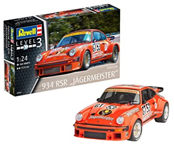 Revell- Maqueta Porsche 934 RSR Jägermeister, Kit Modelo, Escala 1:24 (07031), Color Orange, 17,9 cm de Largo (