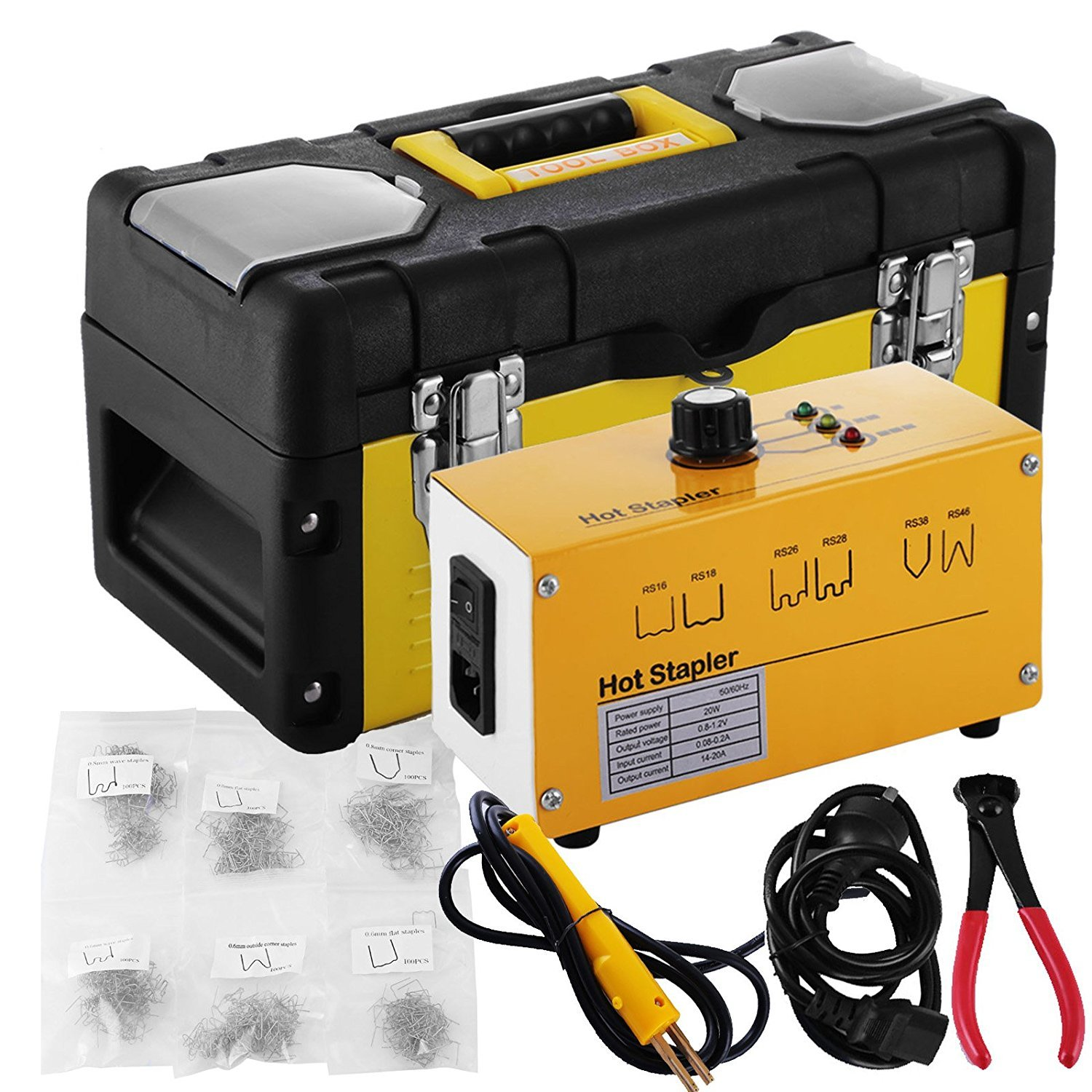 Go2Home Plastic Bumper Repair Kit Hot Stapler Plastic Welder Staple Gun with Welders Carry Box and Snips, Yellow 20W