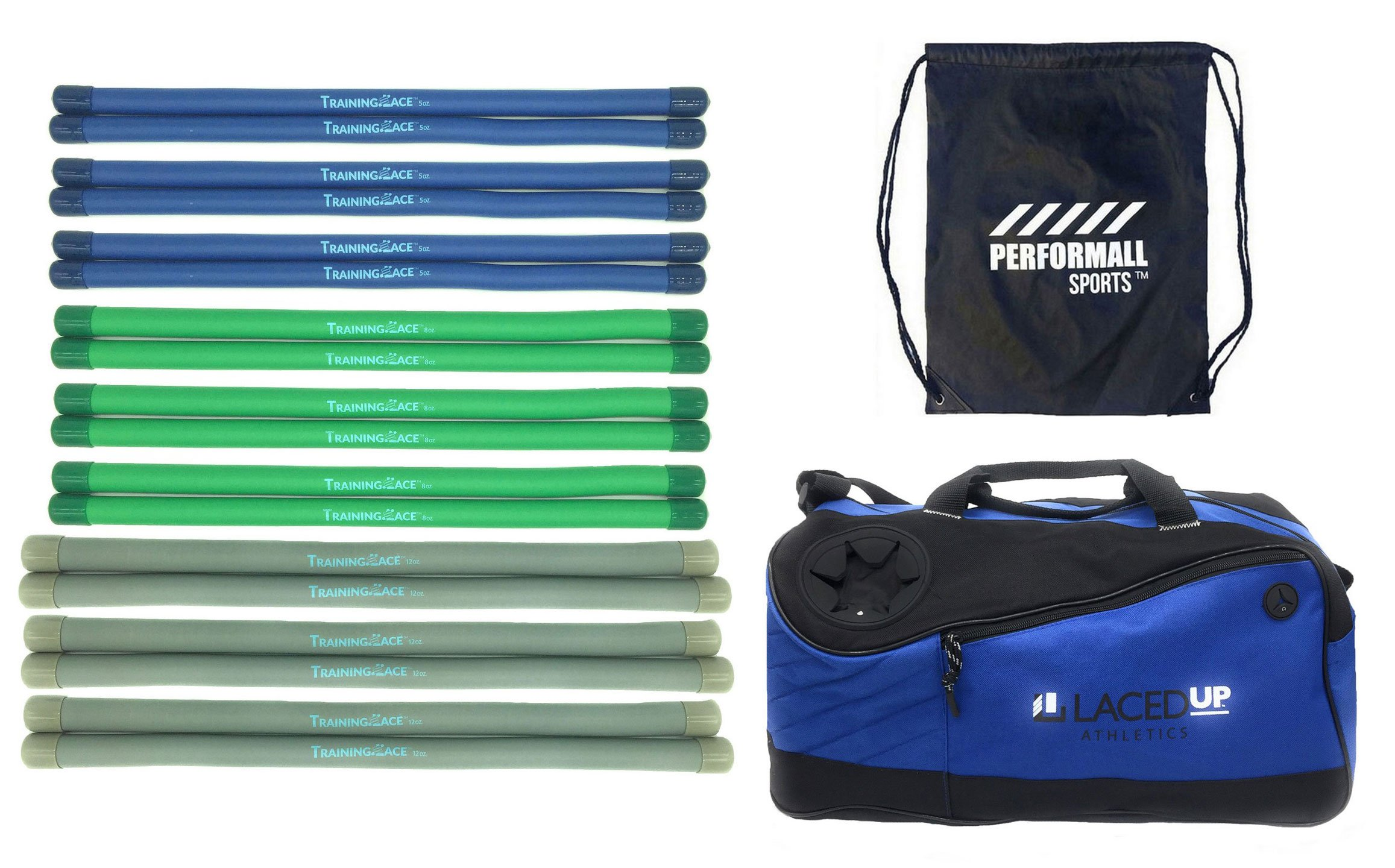 Training Lace Lacrosse Team Pack Combo: 6 of 5oz, 8oz and 12oz plus 1 Duffle Bag Lacedup Athletics TrainingLace bundled with 1 Performall Sport Bag