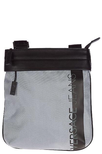 Versace Jeans men s cross-body messenger shoulder bag macrologo silver 1c6f834152cd5