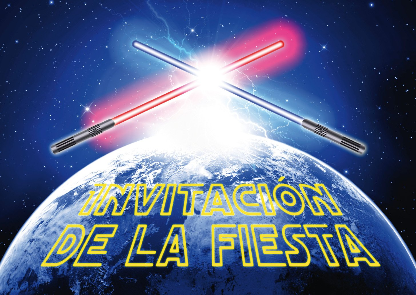 """Edition Colibri 10 Invitaciones en español """"Espadas DE LUZ """": Juego DE 10 Impresionantes Invitaciones de La Guerra de Las Galaxias para el Cumpleaños Infantil (10792 ES)"""