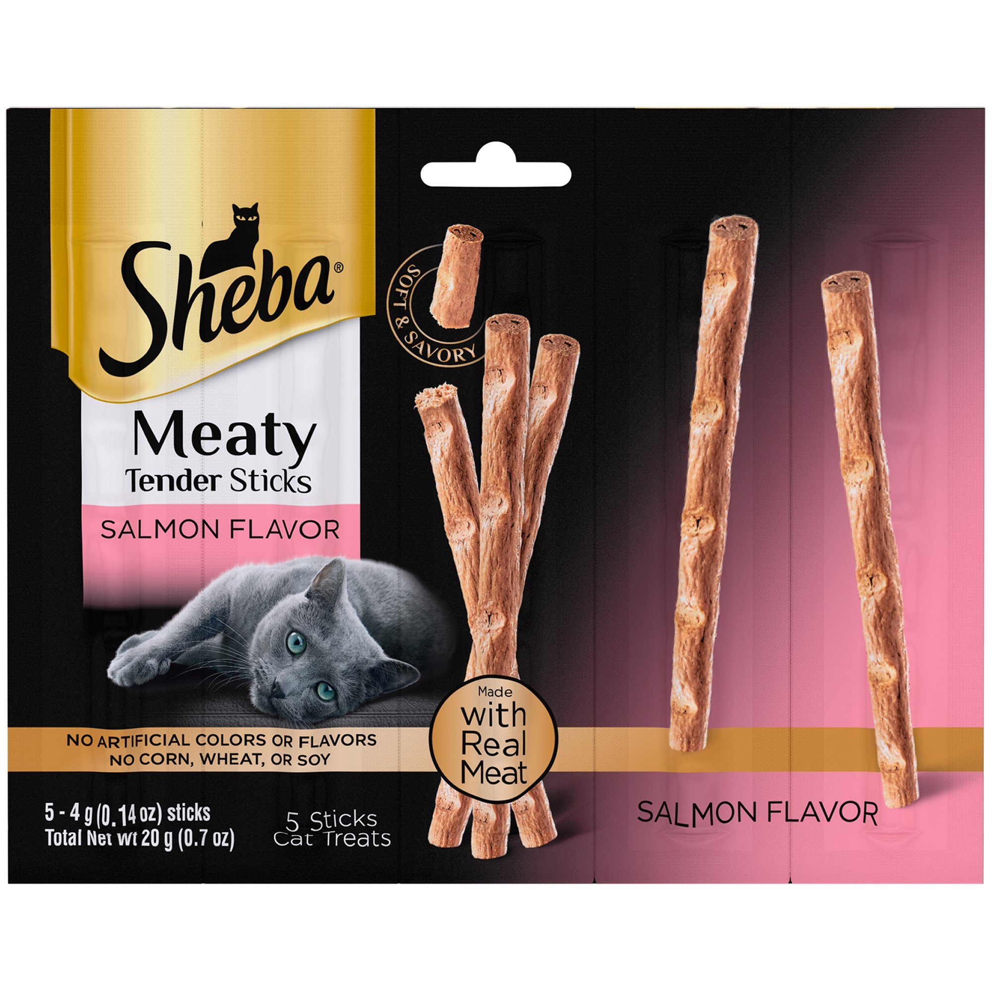 6 Bags of Sheba Meaty Tender Sticks Salmon Flavor Cat Treats - 0.7 Oz (5 Treats in ea Bag)