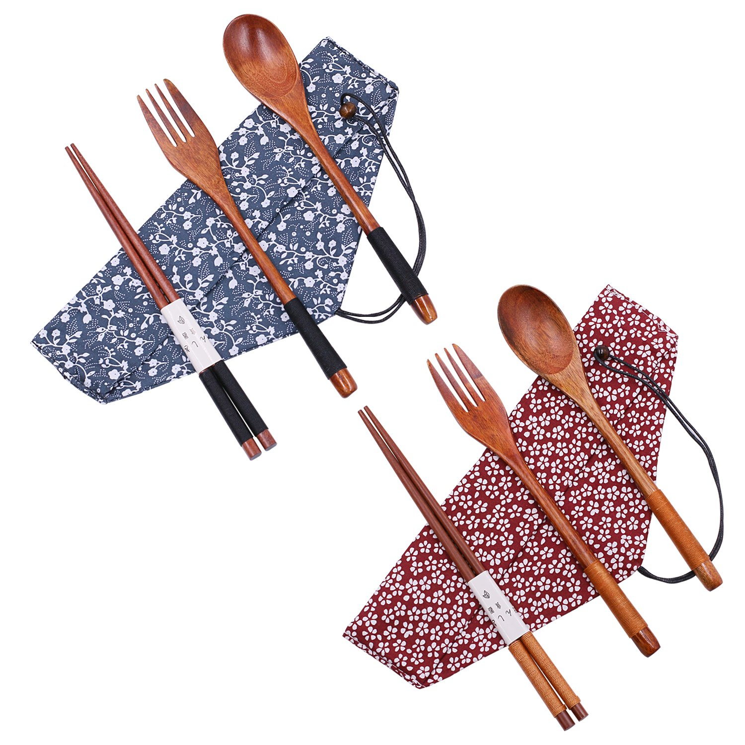 Startostar Wooden Flatware Set of 5-piece Tableware with Pouch for Camping, Travel, Picnic,Office or Home (Fork, Spoon, Chopsticks)