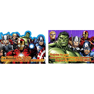 Hallmark Avengers 'Assemble' Invitations & Thank You Cards w/ Envelopes (8ct Each): Toys & Games
