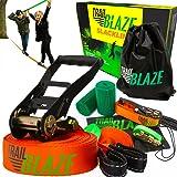 Trailblaze Slackline with Training Line + Tree Protectors | Perfect Beginner Slackline Kit for Kids Healthy Outdoor Fun | Slack Line 50 ft Easy Set-up for Slack Lines Beginner to Pro