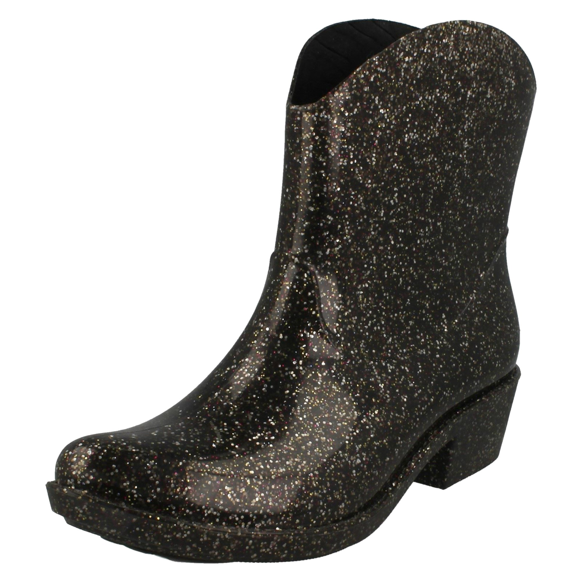 Spot On Womens/Ladies Chunky Heel Cowgirl Style Wellies (7 US) (Glitter)