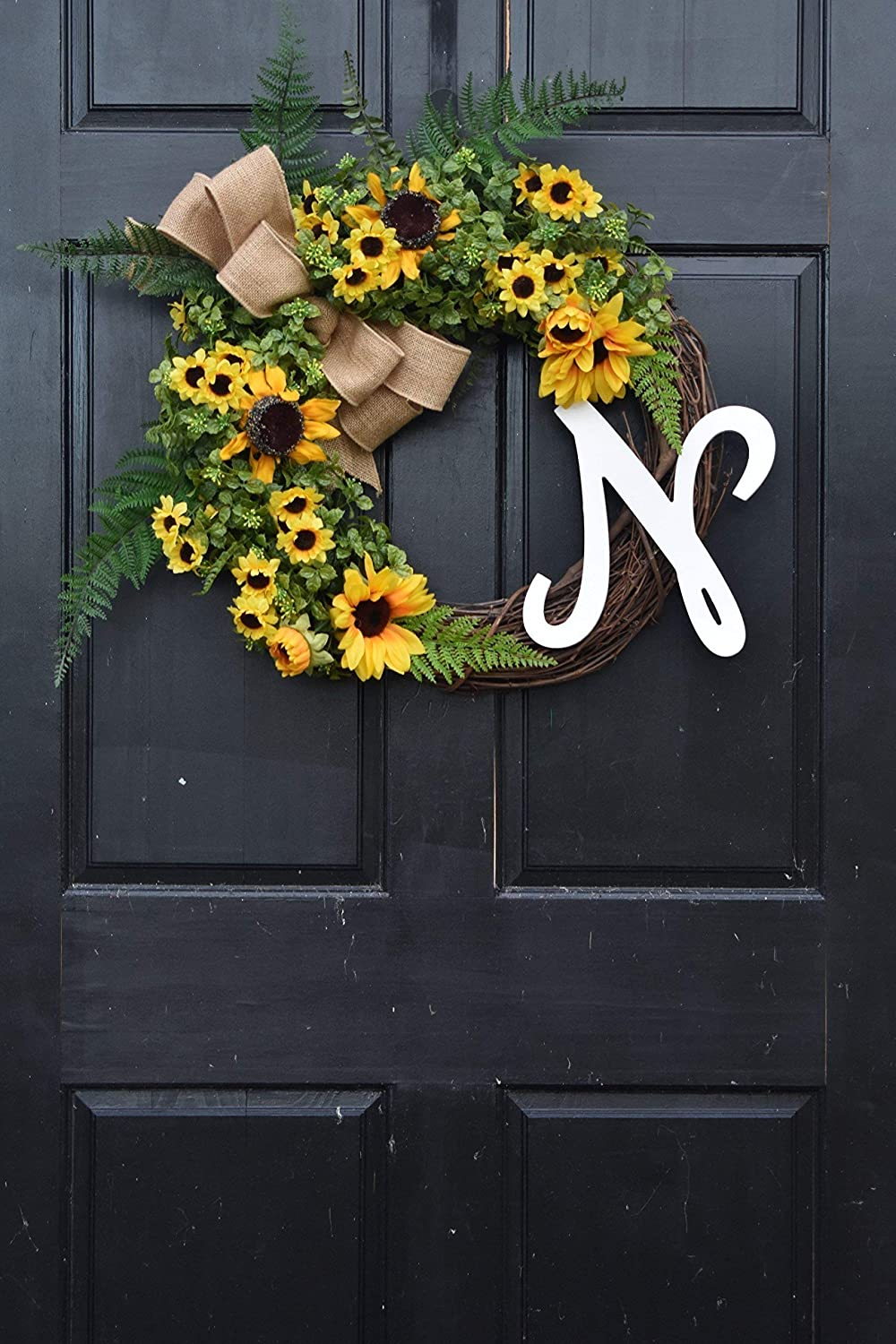 Personalized Yellow Sunflower and Boxwood Spring Summer Monogram Wreath for Front Door Decor; Year Round Faux Greenery Porch Decoration with Ferns and Burlap Bow; Initial Letter Choice