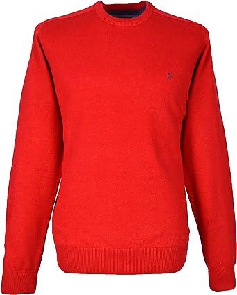 Farah Hombre Cuello Redondo Rojo Jersey – 100% algodón: Amazon.es ...