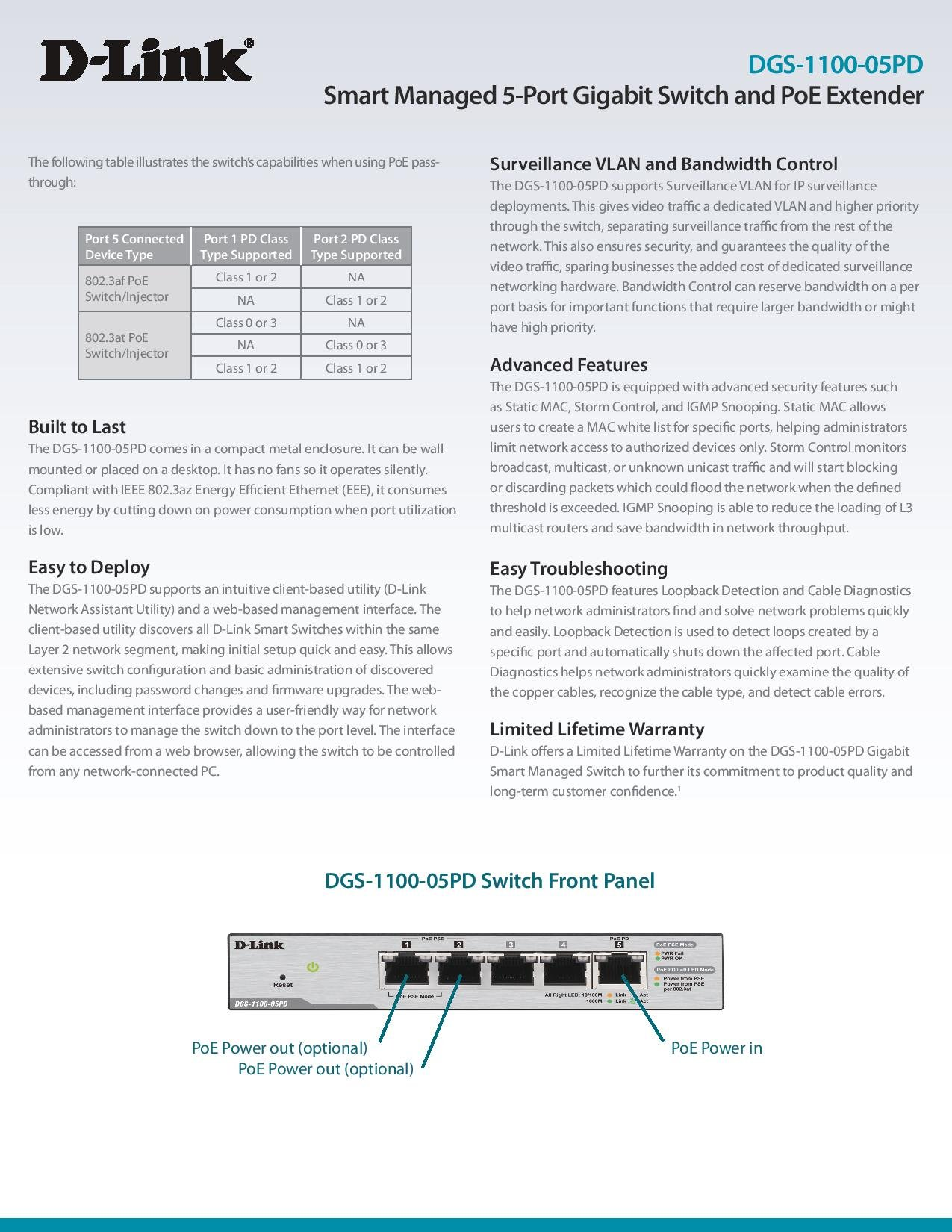 D-Link DGS-1100-05PD Smart Managed PoE-Powered 5-Port Gigabit Switch and PoE Extender by D-Link (Image #6)