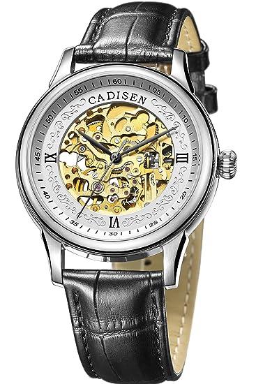 cadisen Mens negocio Sapphire dorado de lujo esqueleto piel mecánica relojes