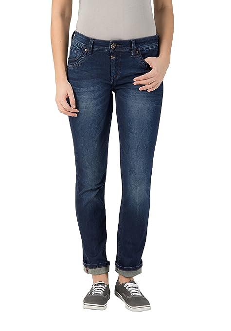Timezone Damen Straight Jeans Slim Tahila Super Stretch