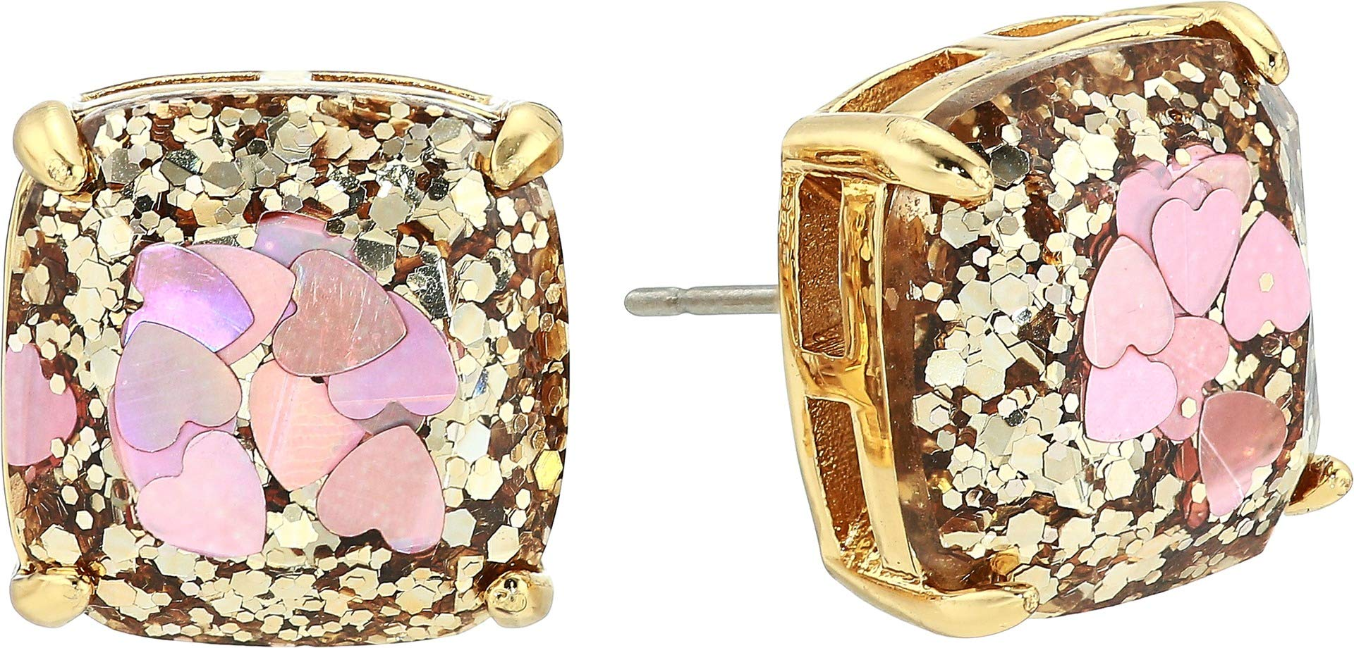 Kate Spade New York Women's Glitter Small Square Stud Earrings Blush Multi One Size by Kate Spade New York