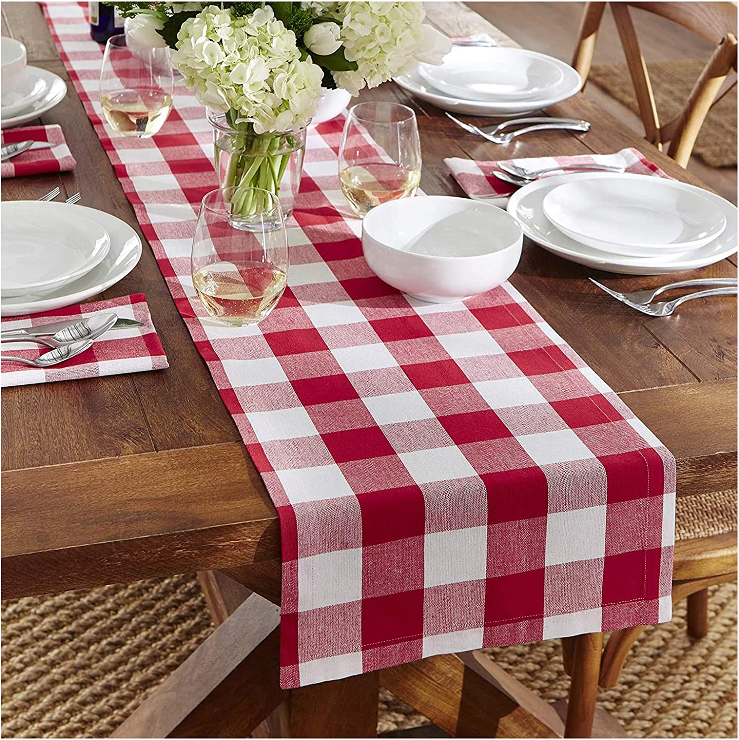 Fysupotsu Buffalo Plaid Checkered Table Runner, Cotton Burlap Table Decor for Family Dinner,Farmhouse, Christmas,Thanksgiving, Birthday Party,Outdoor Event (Table Runner,14x108, Red & White)