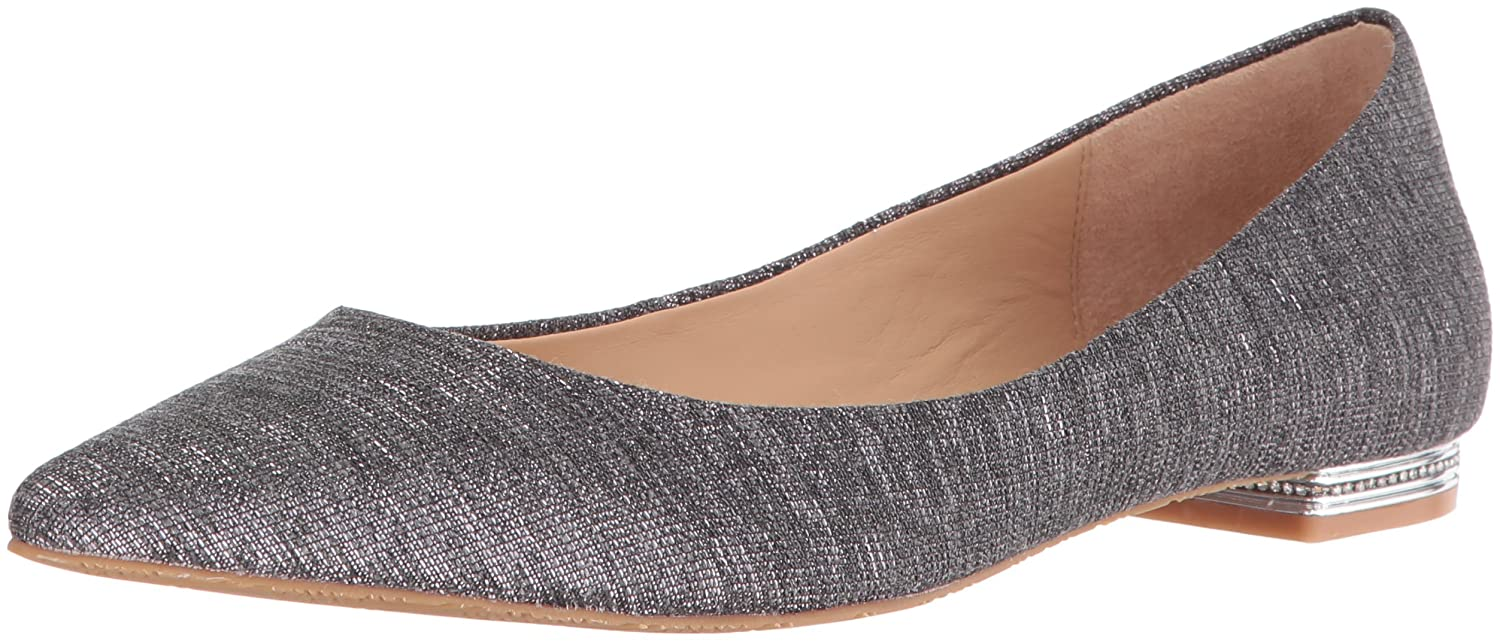 Pewter Badgley Mischka Womens Guardian Pointed Toe Flat