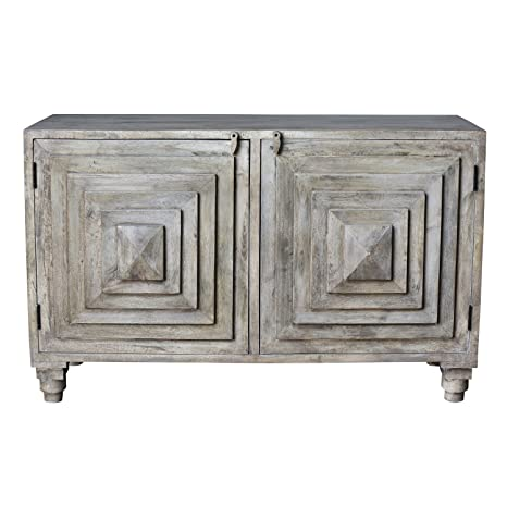 Crestview Bengal Manor Mango Wood 2 Stacked Pyramid Door Cabinet CVFNR334
