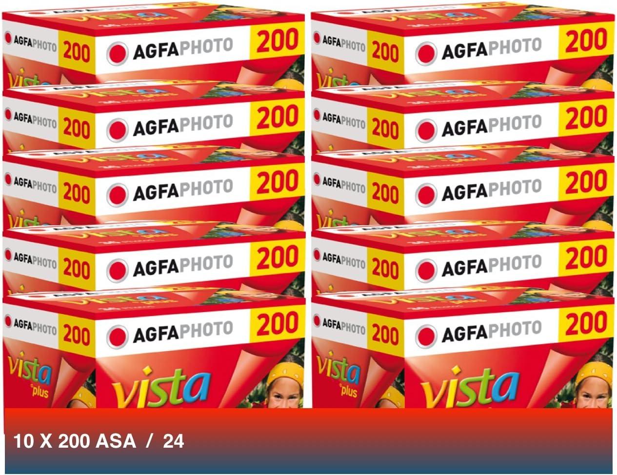 Agfa Photo Vista Plus 200 135-24 Lot de 10 Pellicules pour Appareil Photo Argentique 35 mm Noir