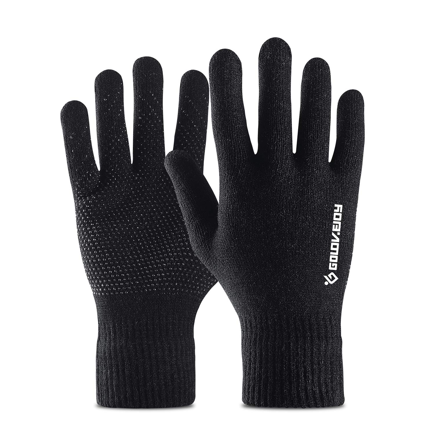 RayLight Winter Warm Touchscreen Technology Gloves, Anti-Slip Grip Palm for Women Men, Cashmere Knit Wool Lined Texting, Black, Large