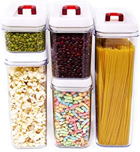 Airtight Food Storage Containers - Airtight Container Set with Lids - 5 Piece Set - Plastic BPA Free - Vacuum Function Storage Containers Kitchen - Heavy Duty Dry Food Storage Containers