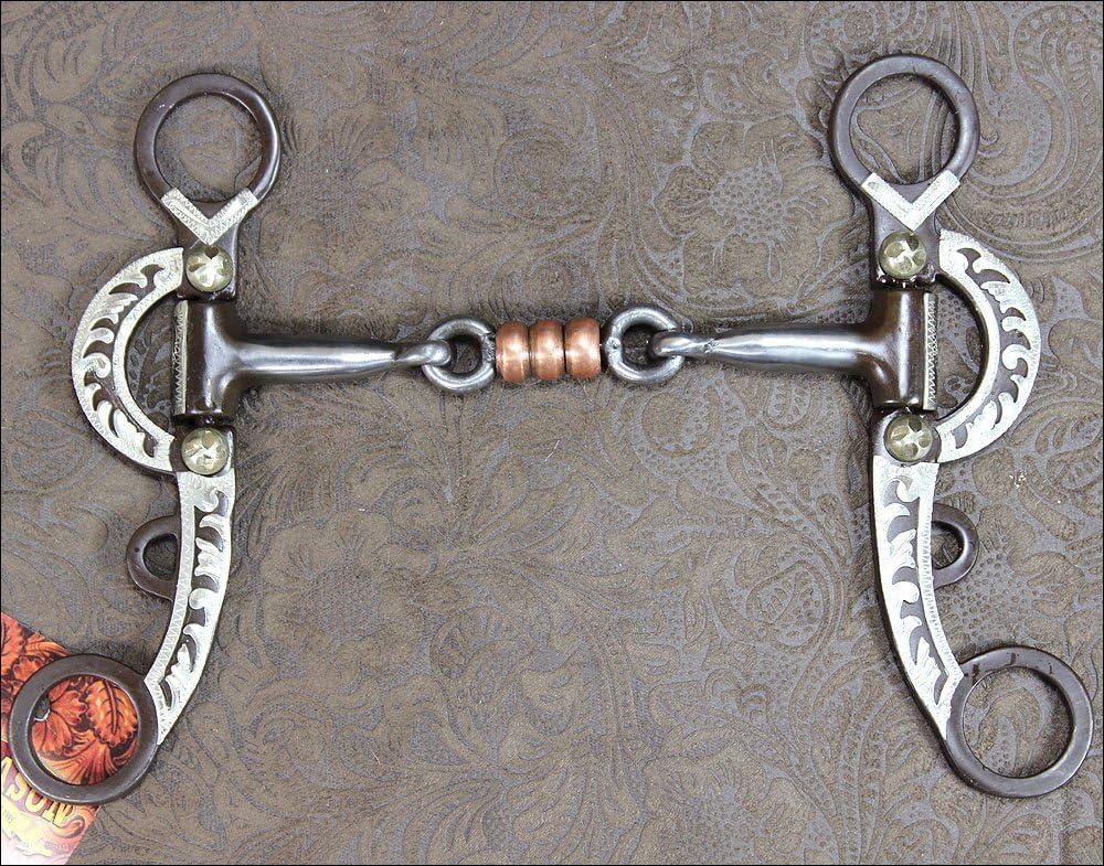 Hilasonアンティークブラウン馬ビット3 Piece口W /銅ローラー