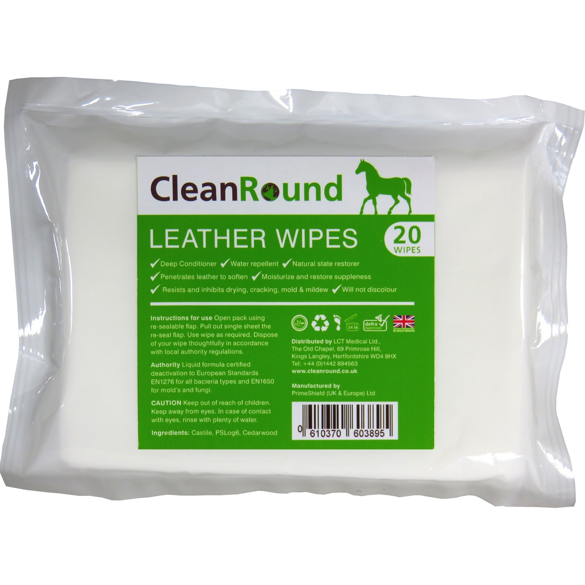 CleanRound Leather Wipes Leathercare One Size White by CleanRound