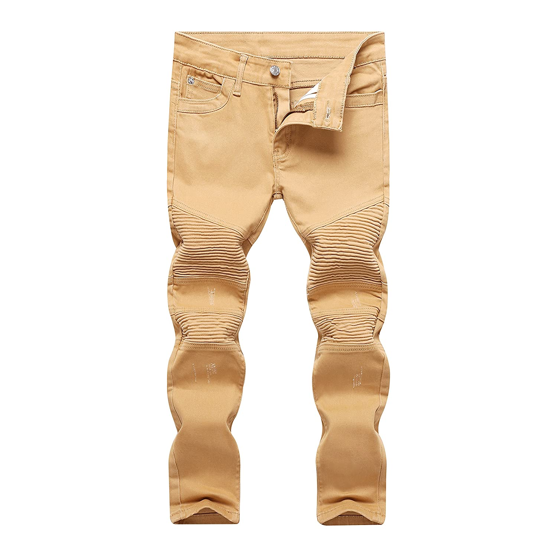 IA ROD CA Boy's Khaki Biker Moto Ripped Distressed Fashion Skinny Slim Fit Jeans JY20170522boy