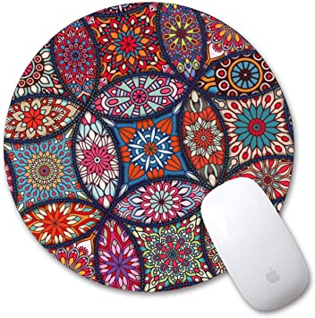 iLeadon Gaming Mouse Pad Customized Round Mousepad for Working Or Game Colorful Mandala PC and Laptops Anti Slip Natural Rubber Mouse Mat for Desktops Computer