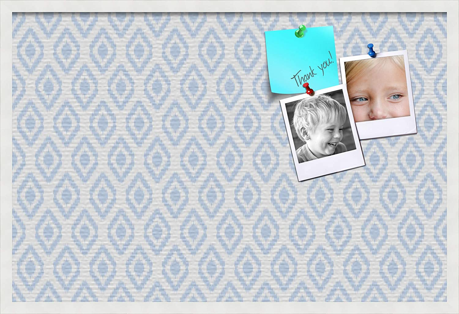 PinPix custom printed pin cork bulletin board made from canvas, Ikat Light Blue 36x24 Inches (Completed Size) and framed in Satin White Frame (PinPix-Group-65) ArtToFrames PinPix-1633-36x24_FRBW26074