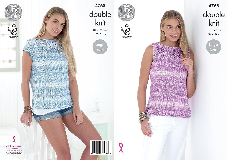 King Cole 4768 Knitting Pattern Tops DK