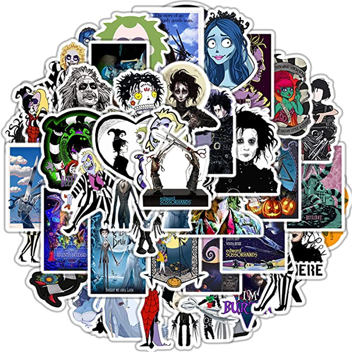 50 Pcs Halloween Tim Burton Film Decal Stickers for Laptop and Water Bottles,Waterproof Durable Trendy Vinyl Laptop Decal Stickers Pack for Teens, Water Bottles, Computer, Travel Case (Tim Burton)