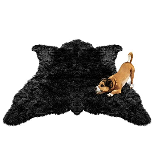 Black Bear Skin Accent Rug/Animal Friendly Faux Fur/Plush Thick and Realistic / 6 Ft New