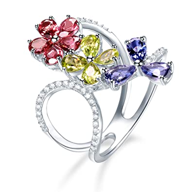 b08230b43 Hutang Natural Multi Gemstone Garnet Peridot Iolite Solid 925 Sterling  Silver Flower Ring Fine Jewelry presents Gift For Women: Amazon.co.uk:  Jewellery