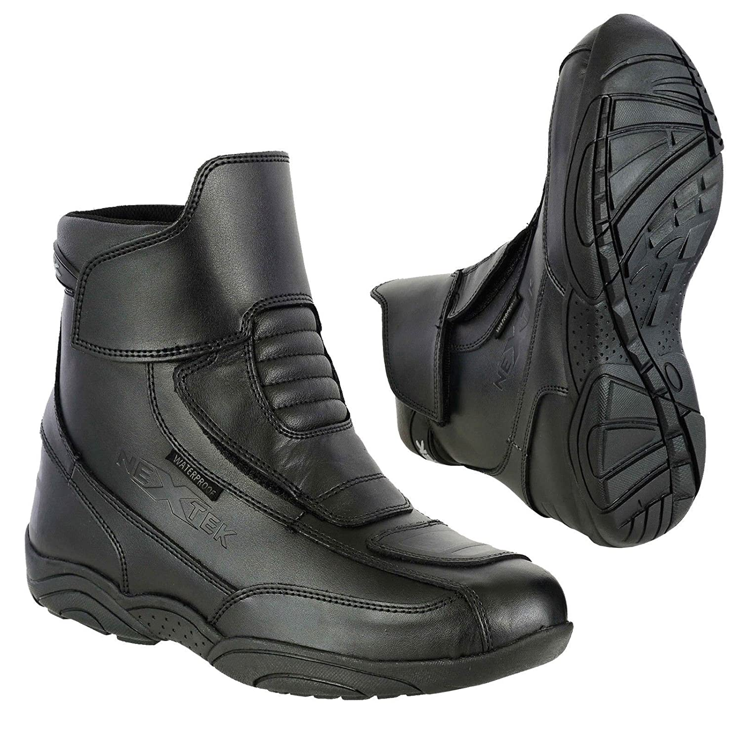 Full Black-UK 12 Motorbike Boot Zip Free Shoe Armoured Short Ankle Racing Sports Urban Touring Cruise Leather Motorcycle Shoes