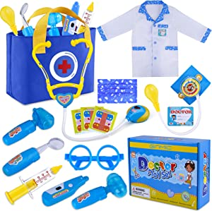 GINMIC Kids Doctor Play Kit, Pretend Play Doctor Set with Roleplay Doctor Costume and Medical Bag for Toddlers and Kids Dress-Up, Medical Dr Kit Toys for Girls Boys Age 3 4 5 6 7 8 9 Year Old