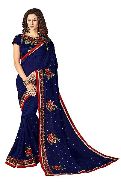 a740b77acd2b6 Glory Sarees Women s Vichitra Silk Saree(luxury101 Navy Blue ...