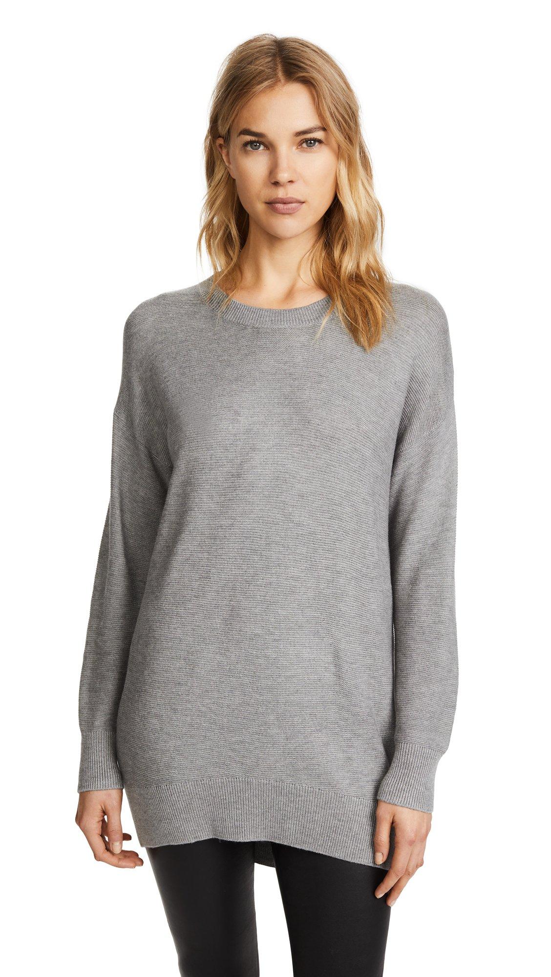 Splendid Women's LS Grommet Pullover, Heather Slate, S