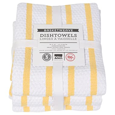 Now Designs Basketweave Kitchen Towel, Set of 3, Lemon