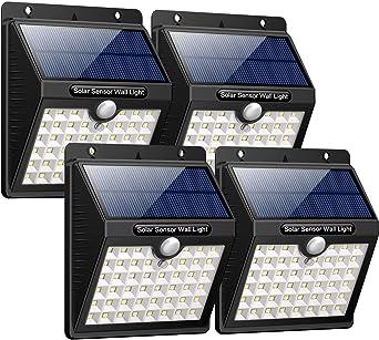 Aesy Luz Solar Jardín, 30 LED Focos Solares Exterior, Luces de Exterior con Sensor de Seguridad por Movimiento Inalámbricas y con Batería Solar, para Jardín Muros Exteriore Patios Terrazas (4 Piezas): Amazon.es: